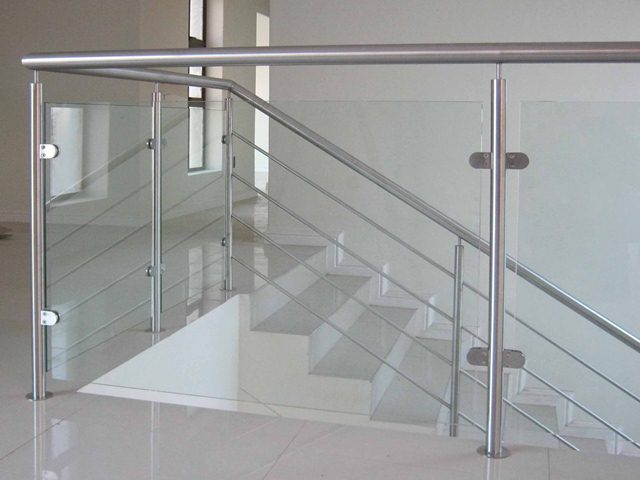 Stair railing wall mounted side mounting rail system buy for Interior glass railing designs