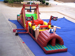 large pirate ship inflatable obstacle course for sale