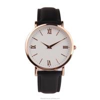 Fashion classic alloy case watch, unisex genuine leather strap watch