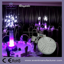 Battery operated 20CM round wedding centerpieces multi colors rechargeable crystal flower stand with remote control