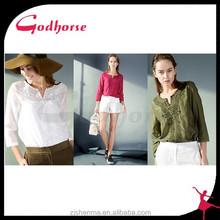 China Supplier 3/4 Sleeve V- Neck Silk Cotton Women top