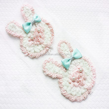 Chiffon Flower , bunny chiffon rosette trim, cheap high quality cute shabby rosette Rabbit for headband In stock