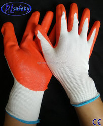 en388 personalized yellow nylon/polyester coated nitrile construction