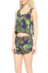 Ladies Lovely Fruit Print Crop Top With Shorts Two piece Suits