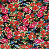 traditional style floral printing chinese crepe fabric