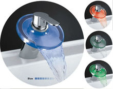 Stainless steel and glass led lighting for sensor water tap