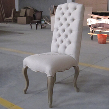 Good Quality 100% White LinenTufted French Louis Style Dining Chair