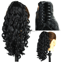 Jet Black Synthetic Claw Clip Ponytail Hair Extension Heat Resistant Fiber Long Curly Wave Ponytail With Claw Fashional Hair