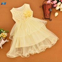 Cute Kids Girls Korean Style O-Neck Sleeveless Net Yarn Patchwork Multilayer Dress with Flower Decoration