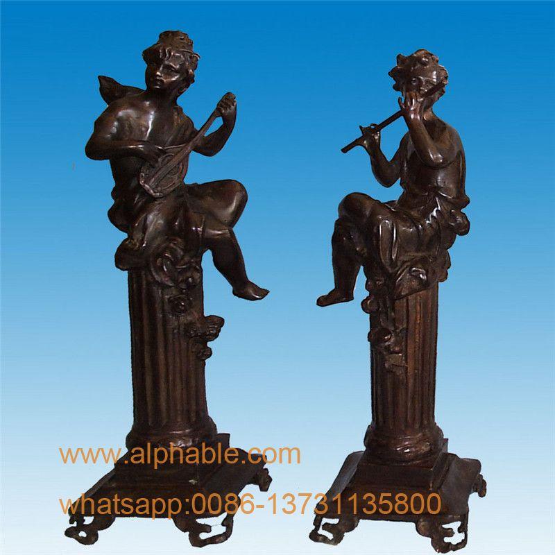 Escultura de bronce al aire libre niños tocando la flauta estatua de bronce