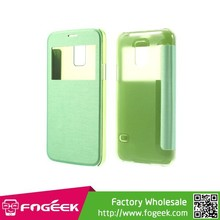 Window View Flip Leather Cover w/ Back Plastic Case for Samsung Galaxy S5 mini SM