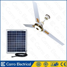 Guangdong supplier 56inch DC battery ceiling fan 12v battery operated ceiling fan with LED light