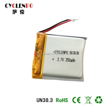 li-polymer battery 603030 350mah for watch with UN38.3 cells from Chinese factory