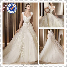 Free veil 2015 Hot High Quality Ivory A- line Cap Sleeve Wedding Dress