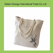 Factory price manual ladies special print cotton beach bag with rope belts