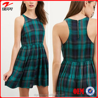 2015 Latest fashion designs dress sexy plaid fit & flare girls party dresses