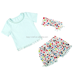 Wholesale cotton pompoms for baby clothes, boutique girl clothing,infant clothes from china