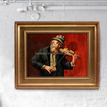 Handpainted Type and Yes Frame musician oil painting