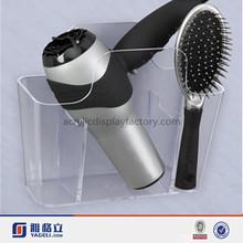 Wholesale custom crystal clear acrylic lucite plastic hair comb holder/acrylic brochure holder/acrylic hair dryer holder