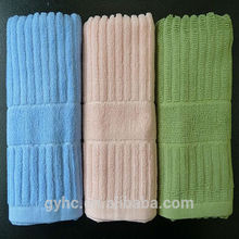 China 100% cotton customized plain dyed terry 21s/2 striped jacquard face towel