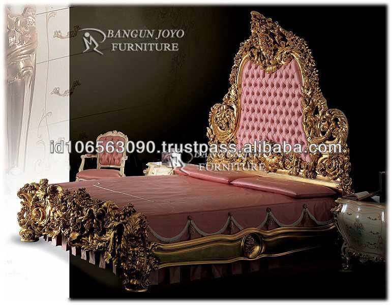Luxury furniture wood royal crown bed with gold leaf bj - Most expensive furniture wood ...