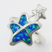 XMAS GIFTS NEW Latest Fish Shape Australian Fire Opal Creative Women Top Silver Party Jewelry Ring Sz. 7
