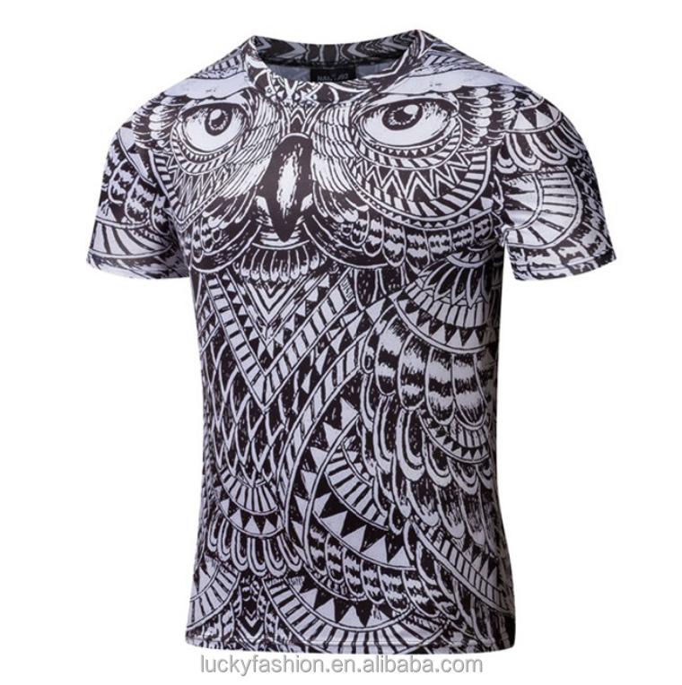 2017 Nova Chegada dos homens de Moda de Algodão camisa de Impressão 3D T