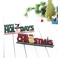 christmas decorative table piece wood desktop ornament letter