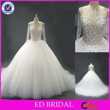 LN01 Best Selling Real Sample Heavy Beaded Long Sleeve See Through Top Keyhole Back Ball Gown Wedding Dresses China
