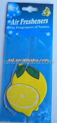 2015 lemon shape aromatic factory price printing logo perfumed paper car air freshener for car