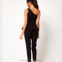 MS70432L Newly designed women fashion beaded jumpsuits office lady's one shoulder formal rompers
