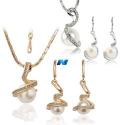 Lady Party Jewelry Set Round Artificial Pearls Pendant Necklace Earrings Set
