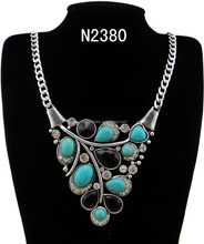 N2380 Fashion Charming Colorful Stone Pendant Necklace