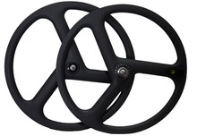 chinese carbon wheels tri spoke wheels700c clincher road/track/fixed gear bike carbon 3 spoke wheels