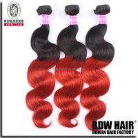 Beautiful no tangle and shedding free grade 6A ombre body wave 2 tone colored brazilian hair weave