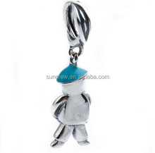 2015 latest design European S925 sterling silver SD012 football boy pendants charms