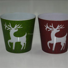 2015 christmas item christmas tree&reindeer frosted glass candle holders for home decorations