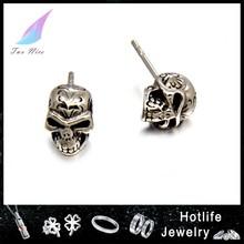 2015 best selling stainless steel casting skull earrings for men