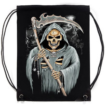 BY-P033 2014 Wholesale Cotton 3D Skull Pattern Drawstring Bag for Promotion
