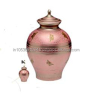 POT SHAPED PINK BUTTERFLY CREMATION URN