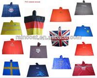 Fashion China PVC Flag Poncho Alibaba Supplier Adults/Children Disposible Poncho/Cloak