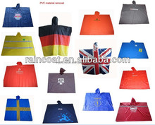 Fashion China PVC Flag Poncho Alibaba Supplier Adults/Children Disposible Poncho/Cloak