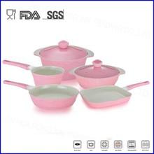 7pcs pink color die-casting non-stick ceramic cookware set