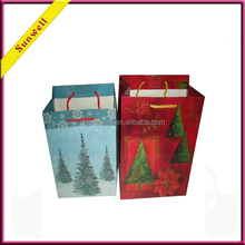 High quality Christmas tree gift paper cute shopping bag wholesale paper bag