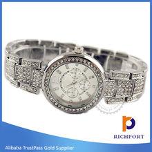 Christmas Gift Silver Gold Metal Wristwatch, Luxury Lady Watch