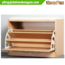 Wooden Shoe Rack, Shoe Shelf, Bench Design Shoe Cabinet With PU Seat