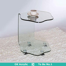 C shape acrylic table , coffee table with wheels