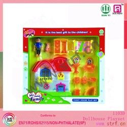 2015 Lovely and Happy Peppa Pig Family with House and Music Lights Kids Gift Peppa Pig house toy doll