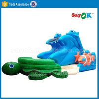 Cheap children inflatable pool with slide inflatable shark water slide