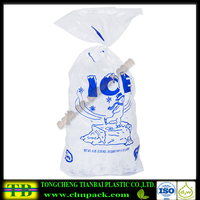 8 lb. flat clear color ice bag,plastic ice bag with nice blue color printing
